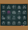 gift chalk draw line icons set vector image vector image