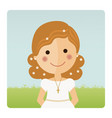 girl communion foreground with curly hair on blue vector image vector image