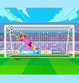 goalkeeper jumping for ball vector image