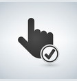 hand cursor and checkmark icon vector image vector image