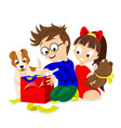 happy kids and dog with christmas gifts vector image