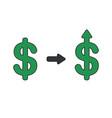 icon concept dollar symbol arrow up vector image