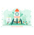 innovation technology spaceship and worker vector image vector image