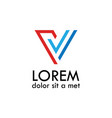 letter v line logo vector image