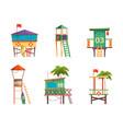 lifeguard building bungalow guard towers vector image