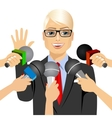 male politician answering press questions vector image vector image