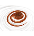 milk swirl with chocolate candy vector image vector image