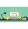 online business review with gold coin computer vector image vector image