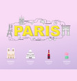 paris sightseeing tour with landmark icons vector image