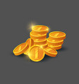 pile of shiny golden coins icon vector image vector image