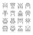 robot transformer thin black line icon set vector image