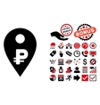 Rouble Map Marker Flat Icon with Bonus vector image vector image