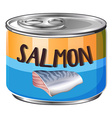 Salmon in aluminum can vector image vector image