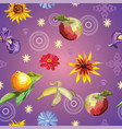 seamless pattern with flowers and fruits vector image