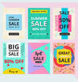 set summer sale banner with memphis style vector image vector image