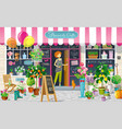 showcase flower shop drawing vector image