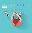 smart watch and smart phone fitness woman vector image