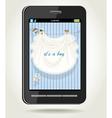Smartphone with baby boy blue openwork vector image vector image