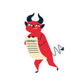 smiling cartoon red devil contract flat vector image vector image