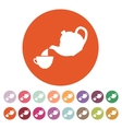 The teapot and cup icon Tea symbol Flat vector image vector image