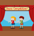 two children on stage dancing vector image