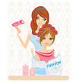 woman has dried hair in a beauty salon vector image vector image