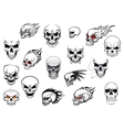 Collection of Halloween and horror skulls vector image