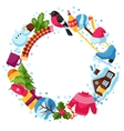 Frame with winter objects Merry Christmas Happy vector image
