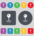Map pointer icon sign A set of 12 colored buttons vector image