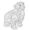 adult coloring bookpage a cute little bear image vector image