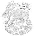 adult coloring bookpage a cute rabbit on the vector image