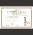 anniversary retro vintage background 1year vector image vector image