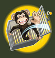 Baby Chimpanzee Breaking A Cage vector image vector image