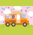 back to school cute animals in bus transport vector image