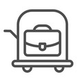 bag on trolley line icon luggage cart vector image