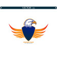 bald eagle with shield wings logo vector image vector image