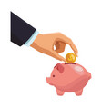 businessman hand deposinting coin in piggy vector image vector image