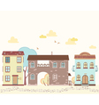 Cartoon street with houses clouds trees vector image