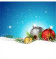 christmas balls with fir and pine cone on the snow vector image vector image