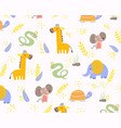 colorful background pattern animals vector image