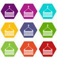 crane with load icon set color hexahedron vector image vector image
