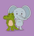 cute and little elephant and crocodile characters vector image vector image