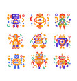 cute funny robots set android characters vector image