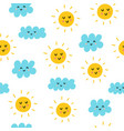 cute sun and clouds seamless pattern vector image