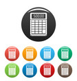 financial calculator icons set color vector image vector image