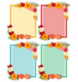 four frames with colorful flowers vector image vector image