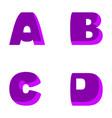 funny decorative letters a b c d purple vector image vector image