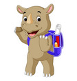 funny rhino cartoon go to school vector image