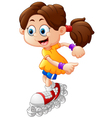 Girl roller skating cartoon vector image