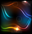 glowing neon colorful waves abstract background vector image vector image